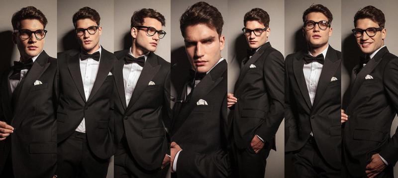 Collage of an elegant fashion man in tuxedo
